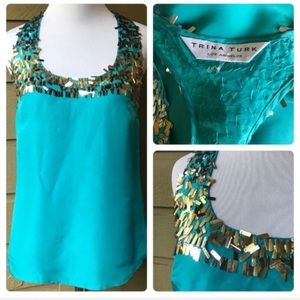 ❤️ Trina Turk Teal Silk Blouse With Gold Sequin S